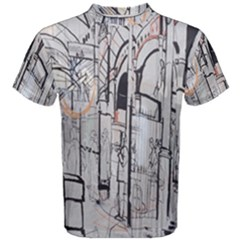 Cityscapes England London Europe United Kingdom Artwork Drawings Traditional Art Men s Cotton Tee