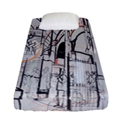 Cityscapes England London Europe United Kingdom Artwork Drawings Traditional Art Fitted Sheet (single Size)