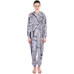 Cityscapes England London Europe United Kingdom Artwork Drawings Traditional Art Hooded Jumpsuit (ladies)