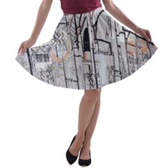 Cityscapes England London Europe United Kingdom Artwork Drawings Traditional Art A-line Skater Skirt
