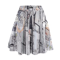 Cityscapes England London Europe United Kingdom Artwork Drawings Traditional Art High Waist Skirt