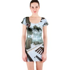 Digital Art Paint In Water Short Sleeve Bodycon Dress