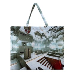 Digital Art Paint In Water Zipper Large Tote Bag