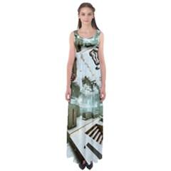 Digital Art Paint In Water Empire Waist Maxi Dress