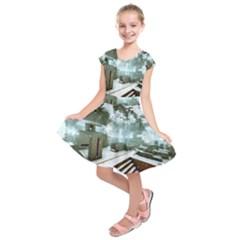 Digital Art Paint In Water Kids  Short Sleeve Dress