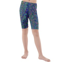 Glitch Art Kids  Mid Length Swim Shorts