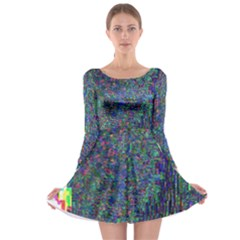 Glitch Art Long Sleeve Skater Dress