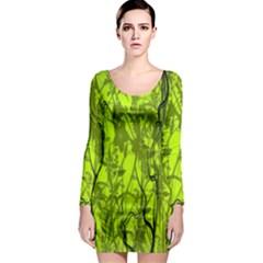 Concept Art Spider Digital Art Green Long Sleeve Bodycon Dress