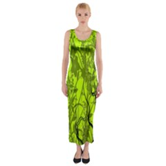 Concept Art Spider Digital Art Green Fitted Maxi Dress
