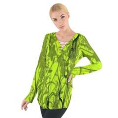 Concept Art Spider Digital Art Green Women s Tie Up Tee