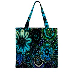Sun Set Floral Zipper Grocery Tote Bag