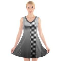Semi Authentic Screen Tone Gradient Pack V Neck Sleeveless Skater Dress
