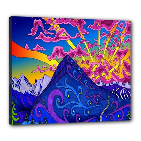 Psychedelic Colorful Lines Nature Mountain Trees Snowy Peak Moon Sun Rays Hill Road Artwork Stars Canvas 24  X 20