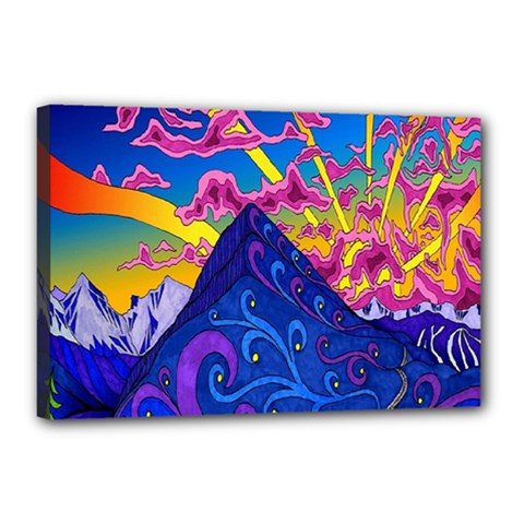 Psychedelic Colorful Lines Nature Mountain Trees Snowy Peak Moon Sun Rays Hill Road Artwork Stars Canvas 18  X 12