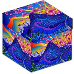 Psychedelic Colorful Lines Nature Mountain Trees Snowy Peak Moon Sun Rays Hill Road Artwork Stars Storage Stool 12