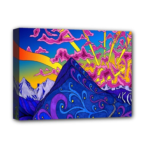 Psychedelic Colorful Lines Nature Mountain Trees Snowy Peak Moon Sun Rays Hill Road Artwork Stars Deluxe Canvas 16  x 12