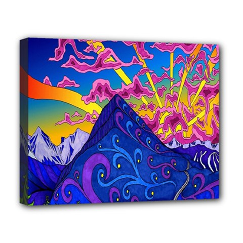 Psychedelic Colorful Lines Nature Mountain Trees Snowy Peak Moon Sun Rays Hill Road Artwork Stars Deluxe Canvas 20  X 16