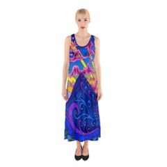 Psychedelic Colorful Lines Nature Mountain Trees Snowy Peak Moon Sun Rays Hill Road Artwork Stars Sleeveless Maxi Dress