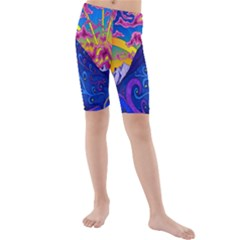 Psychedelic Colorful Lines Nature Mountain Trees Snowy Peak Moon Sun Rays Hill Road Artwork Stars Kids  Mid Length Swim Shorts