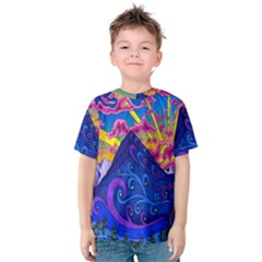 Psychedelic Colorful Lines Nature Mountain Trees Snowy Peak Moon Sun Rays Hill Road Artwork Stars Kids  Cotton Tee