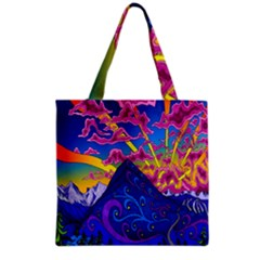 Psychedelic Colorful Lines Nature Mountain Trees Snowy Peak Moon Sun Rays Hill Road Artwork Stars Grocery Tote Bag