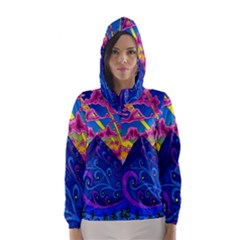 Psychedelic Colorful Lines Nature Mountain Trees Snowy Peak Moon Sun Rays Hill Road Artwork Stars Hooded Wind Breaker (Women)