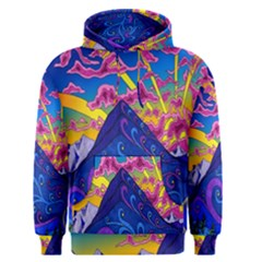 Psychedelic Colorful Lines Nature Mountain Trees Snowy Peak Moon Sun Rays Hill Road Artwork Stars Men s Pullover Hoodie