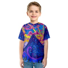Psychedelic Colorful Lines Nature Mountain Trees Snowy Peak Moon Sun Rays Hill Road Artwork Stars Kids  Sport Mesh Tee