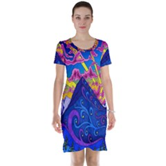 Psychedelic Colorful Lines Nature Mountain Trees Snowy Peak Moon Sun Rays Hill Road Artwork Stars Short Sleeve Nightdress