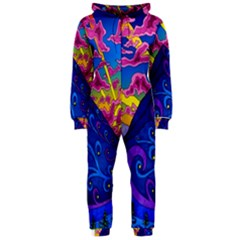 Psychedelic Colorful Lines Nature Mountain Trees Snowy Peak Moon Sun Rays Hill Road Artwork Stars Hooded Jumpsuit (ladies)