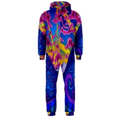 Psychedelic Colorful Lines Nature Mountain Trees Snowy Peak Moon Sun Rays Hill Road Artwork Stars Hooded Jumpsuit (Men)