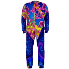 Psychedelic Colorful Lines Nature Mountain Trees Snowy Peak Moon Sun Rays Hill Road Artwork Stars Onepiece Jumpsuit (men)