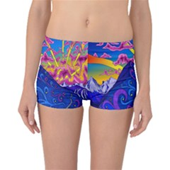 Psychedelic Colorful Lines Nature Mountain Trees Snowy Peak Moon Sun Rays Hill Road Artwork Stars Boyleg Bikini Bottoms