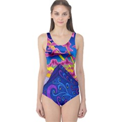 Psychedelic Colorful Lines Nature Mountain Trees Snowy Peak Moon Sun Rays Hill Road Artwork Stars One Piece Swimsuit