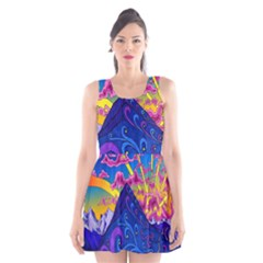Psychedelic Colorful Lines Nature Mountain Trees Snowy Peak Moon Sun Rays Hill Road Artwork Stars Scoop Neck Skater Dress