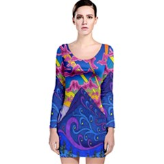 Psychedelic Colorful Lines Nature Mountain Trees Snowy Peak Moon Sun Rays Hill Road Artwork Stars Long Sleeve Velvet Bodycon Dress
