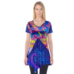 Psychedelic Colorful Lines Nature Mountain Trees Snowy Peak Moon Sun Rays Hill Road Artwork Stars Short Sleeve Tunic