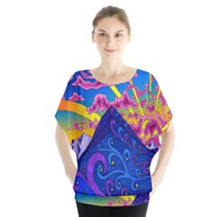 Psychedelic Colorful Lines Nature Mountain Trees Snowy Peak Moon Sun Rays Hill Road Artwork Stars Blouse