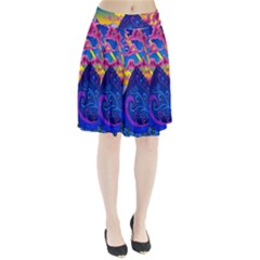 Psychedelic Colorful Lines Nature Mountain Trees Snowy Peak Moon Sun Rays Hill Road Artwork Stars Pleated Skirt