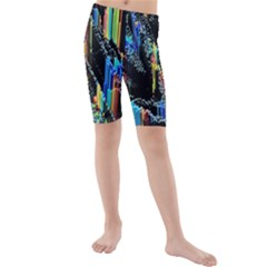 Abstract 3d Blender Colorful Kids  Mid Length Swim Shorts