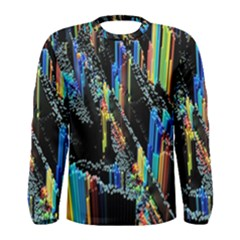 Abstract 3d Blender Colorful Men s Long Sleeve Tee