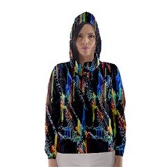 Abstract 3d Blender Colorful Hooded Wind Breaker (women)