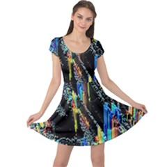Abstract 3d Blender Colorful Cap Sleeve Dresses