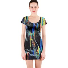 Abstract 3d Blender Colorful Short Sleeve Bodycon Dress