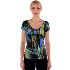 Abstract 3d Blender Colorful Women s V-Neck Cap Sleeve Top