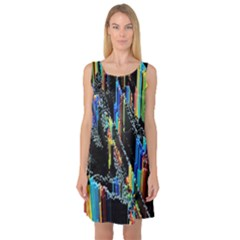 Abstract 3d Blender Colorful Sleeveless Satin Nightdress