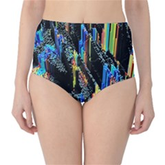 Abstract 3d Blender Colorful High-Waist Bikini Bottoms