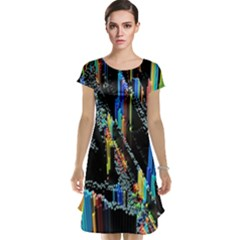 Abstract 3d Blender Colorful Cap Sleeve Nightdress