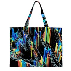 Abstract 3d Blender Colorful Zipper Large Tote Bag