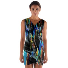 Abstract 3d Blender Colorful Wrap Front Bodycon Dress
